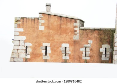 medieval wall isolated on white background