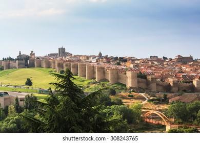 Medieval walls of Avila, Spain.