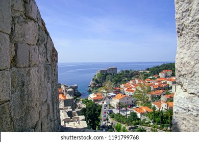 Medieval walls and harbor of old city of Dubrovnik, Croatia