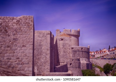 Medieval walls of old city of Dubrovnik, Croatia