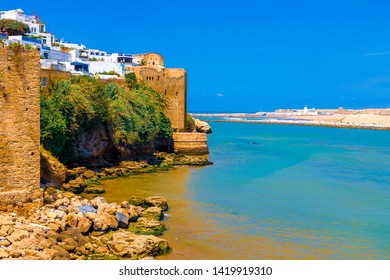 Medieval walls and white houses of Kasbah of the Udayas at the Bou Regreg river on a sunny day. Rabat, Morocco. Africa