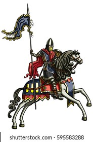 Medieval warrior on a horse. Illustration medieval riding warrior with a banner ribbon on a spear