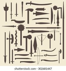 Medieval weaponry silhouette icons set.   Raster copy