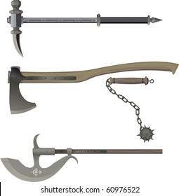 medieval weapons. Battle hammer, Axe, Bludgeon, halberd