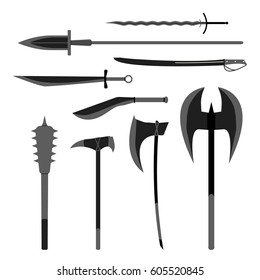 Medieval weapons set. Flat style equipment. Isolated weapons and tools.