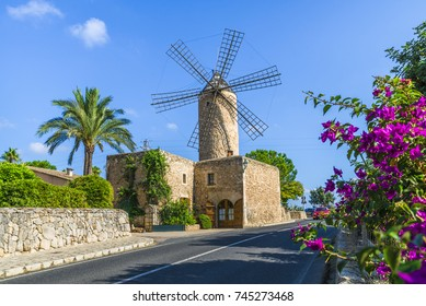 Medieval windmill in Palma Mallorca, Balearic island, Spain