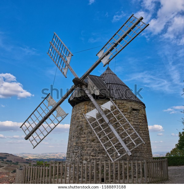 Medieval windmill in the village of Lautrec