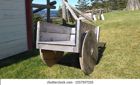 Medieval wooden cart. The cart for agricultural work. Country horse carriage