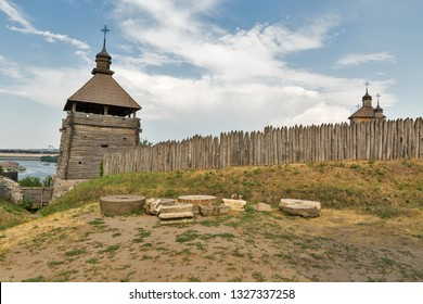 Medieval wooden church, temple of Cossacks. Buildings on Zaporozhskaya Sich on island of Khortytsia in Ukraine.