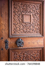 Medieval wooden door of the cathedral in Prague Castle