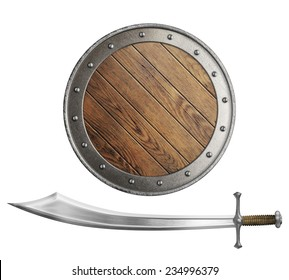 medieval wooden shield and sword or saber isolated