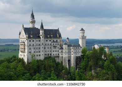 Medieveal castle in Germany, Bavaria, during an overcast summer weather conditions.