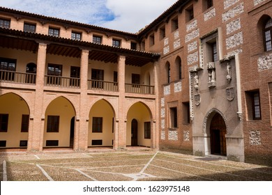 MEDINA DEL CAMPO, SPAIN - April 24, 2019: Castillo de la Mota interior, the Castle of Medina del Campo, in Valladolid, Leon. Spain