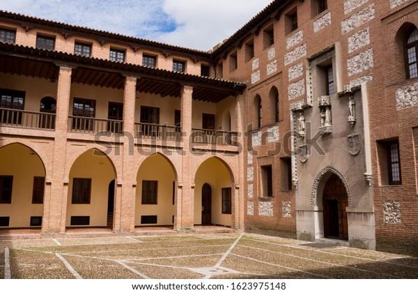 MEDINA DEL CAMPO, SPAIN - April 24, 2019: Castillo de la Mota interior, the Castle of Medina del Campo, in Valladolid, Leon. Spain