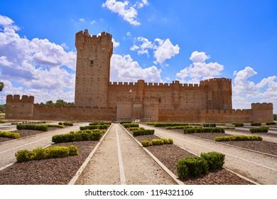 MEDINA DEL CAMPO, VALLADOLID, SPAIN - MAY 30: Mota Castle located at Medina del Campo village on May 30 2017 in Valladolid at Castile Leon