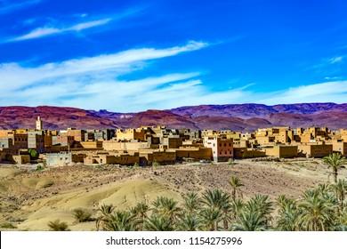 Medina (downtown) of Nkob, a small city in Atlas Mountains.