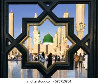 MEDINA, KINGDOM OF SAUDI ARABIA (KSA) - FEB 03: Iron railings behind the mosque of the Prophet Muhammad on February 03, 2017 in Medina, KSA. Prophet's tomb is under the green dome.