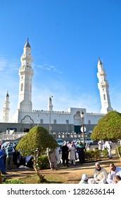 Medina, Kingdom of Saudi Arabia - Nov 21st 2012: Quba' mosque is the  first built by Prophet Muhammad pbuh. Popular to visit among muslims.