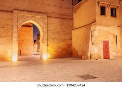 Medina of Marrakesh at night. Marrakesh, Marrakesh-Safi, Morocco.