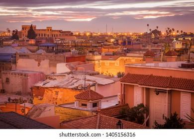 Medina of Marrakesh at sunrise - aerial view. Marrakesh, Marrakesh-Safi, Morocco.