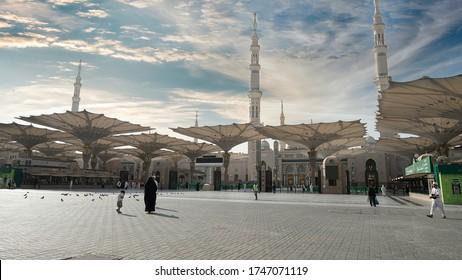 MEDINA, SAUDI ARABIA - 07/30/2019 : Al-Masjid an-Nabawi (The Prophet's Mosque).