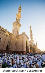 Medina, Saudi Arabia (08/25/2018) : Nabawi Mosque, the prophet's Muhammad mosque, a mosque with great architecture. Pilgrims during hajj and umra visit this mosque.