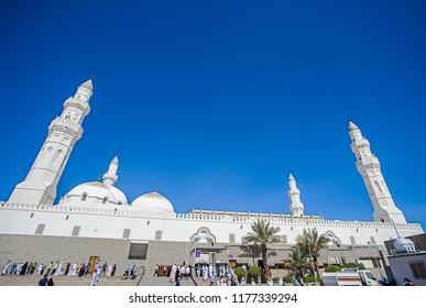 Medina, Saudi Arabia (08/30/2018) : Quba / Kuba Mosque, the first mosque that built by Prophet Muhammad in Medina. Pilgrims during hajj and umra visit this mosque.