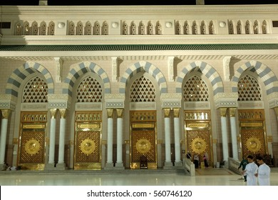 MEDINA, SAUDI ARABIA - 1 DECEMBER 2016 : Muslim pilgrimages at Prophet Mosque or Masjid Nabawi. The mosque is one of the holiest in Islam.