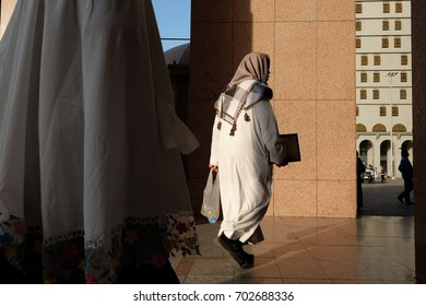 MEDINA, SAUDI ARABIA - 1 DECEMBER 2016 : Muslims at Madinah City Centre during their pilgrimage trip in Medinah.
