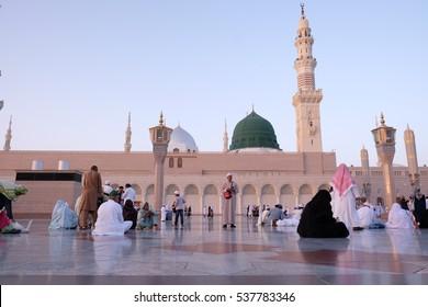 MEDINA, SAUDI ARABIA - 1 DISEMBER 2016 : Muslim pilgrimages at Prophet Mosque or Masjid Nabawi.