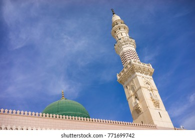 MEDINA, SAUDI ARABIA - 15TH NOV 2017; External view of Mosque Al-Nabawi in Medina, Saudi Arabia. It is the second-holiest site in Islam and the mosque was built by Prophet Muhammad in 622.