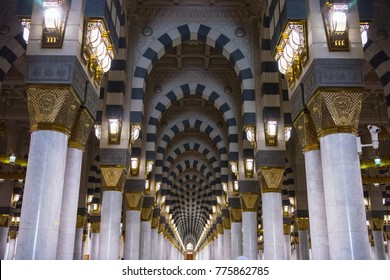 MEDINA, SAUDI ARABIA - 16TH NOV 2017; View of pillars in Mosque Al-Nabawi of Medina. It is the second-holiest site in Islam and the mosque was built by Prophet Muhammad in 622.