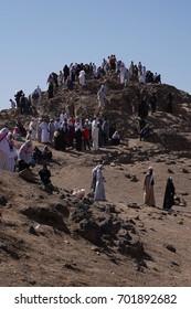 MEDINA, SAUDI ARABIA, 2 June 2016 Pilgrim hike on top of  Jabal Rumah near Uhud Hill , Uhud Hill is one of historical place in Islamic history.