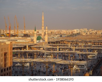 Medina, Saudi Arabia - 28 January 2020: From roof of the hotel, Al-Masjid an-Nabawi