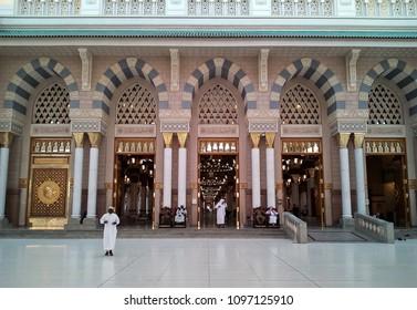 MEDINA, SAUDI ARABIA -5th SEPTEMBER 2017, Interior design mosque of the Prophet Muhammad on in Medina, KSA.