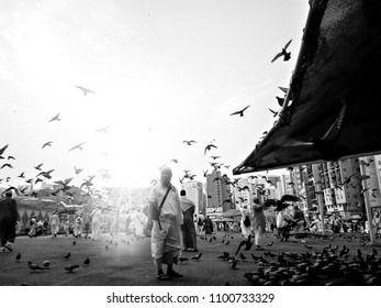 Medina, Saudi Arabia - 6th September 2017, Sunrise scenery of street with pigeons flying at Medina, Saudi Arabia. Image on black and white effect.