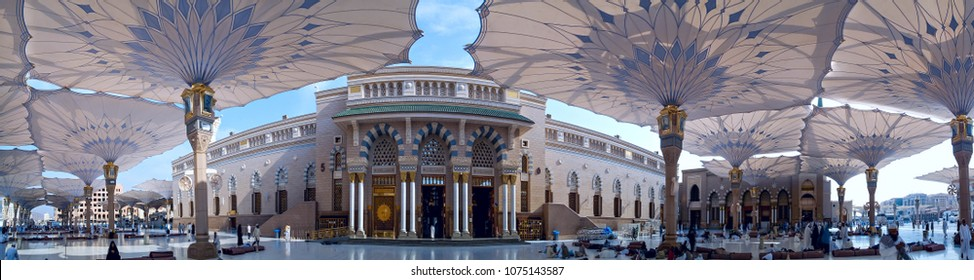 MEDINA, SAUDI ARABIA -9th SEPTEMBER 2017, Panorama mosque of the Prophet Muhammad on in Medina, KSA.