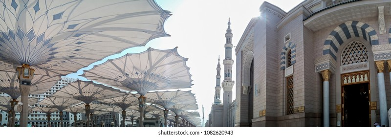 MEDINA, SAUDI ARABIA -9th SEPTEMBER 2017, Panorama mosque of the Prophet Muhammad on in Medina, KSA.