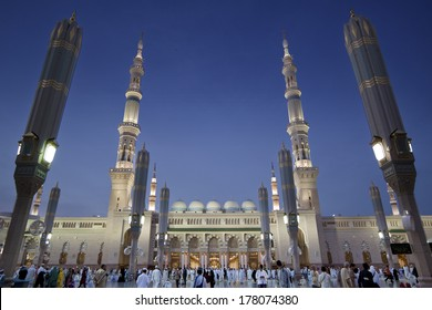 MEDINA, SAUDI ARABIA - APRIL 20: Al-Masjid An-Nabawi often called the Prophet Mosque is second holiest site in Islam and is one of the largest mosques on earth, 20 April 2013 in Medina, Saudi Arabia.