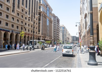 MEDINA, SAUDI ARABIA - APRIL 28 2018: Streets and roads in the center of Medina. Many expensive hotels for pilgrims in this city. Center is rich and modern.
