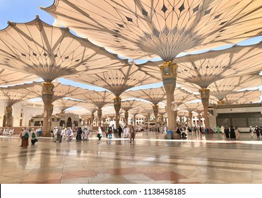 Medina, Saudi Arabia - August 5, 2017: Electronic umbrellas at Prophet Muhammad Mosque or Nabawi Mosque at Madinah, Saudi Arabia
