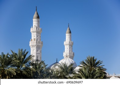 MEDINA, SAUDI ARABIA - AUGUST 6 : A view of Masjid Quba on August 6, 2017 in Medina, Saudi Arabia. This is the first mosque built by Prophet Muhammad (peace be upon him) in Islam.