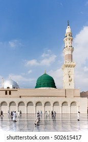 MEDINA, SAUDI ARABIA - DECEMBER 2, 2015: The famous green and silver domes of the Prophet's Mosque (Masjid Nabawi). The mosque was founded by Prophet Muhammad