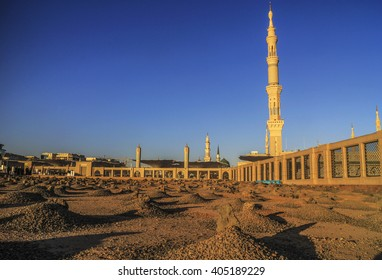 MEDINA, SAUDI ARABIA - FEB 2016 : The Shadow of the Grave al-Baqi, on Feb, 8 2016 in in Medina, Saudi Arabia. Al-Baqi is one of the largest cemeteries in the Muslim world.