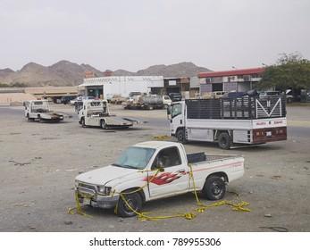 Medina, Saudi Arabia, February 26th, 2017. a car left at gas station outside city of Medina.