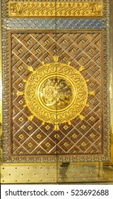MEDINA, SAUDI ARABIA - FEBRUARY 8, 2016 : Close up view of King Fahd Door of Masjid Nabawi in Medina, Saudi Arabia. Nabawi Mosque is the second holiest mosque in Islam