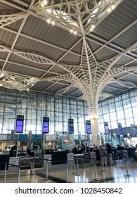MEDINA, SAUDI ARABIA - JANUARY 27, 2018 : Interior architecture view of newly completed Prince Mohammed bin Abdulaziz  International Airport in Al Madinah, Saudi Arabia.