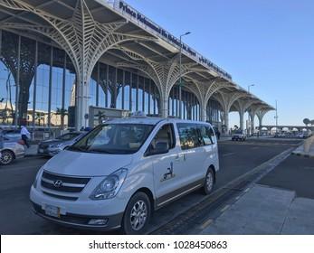 MEDINA, SAUDI ARABIA - JANUARY 27, 2018 : Exterior architecture view of newly completed Prince Mohammed bin Abdulaziz  International Airport in Al Madinah, Saudi Arabia.