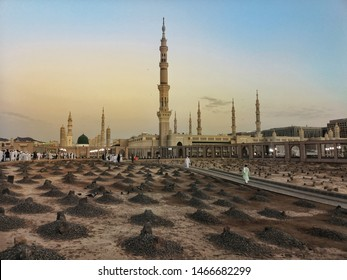 MEDINA, SAUDI ARABIA - July 2019 : The Grave of the al-Baqi, on July 8, 2019 in Medina, Saudi Arabia. Al-Baqi located to the southeast of the Masjid al-Nabawi (The Prophet's Mosque).