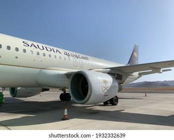 Medina, Saudi Arabia - July 22, 2019: Prince Mohammed Bin Abdulaziz International Airport , saudi Airlines